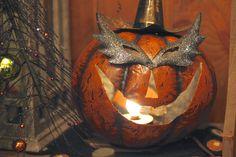 Tin halloween carved pumpkin