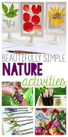 Nature Crafts Beautifully Simple Nature Activities for kids! Crafts and art using natural items from your backyard or park, to try out this summer! Nature Activities, Outdoor Activities For Kids, Spring Activities, Preschool Activities, Outdoor Games, Children Activities, Outdoor Play, Family Activities, Flower Activities For Kids