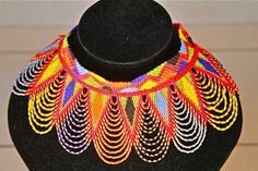 African Zulu Beaded Necklace - CHOKER - Red triangles and multicolor lace pattern by Hadeda on Etsy
