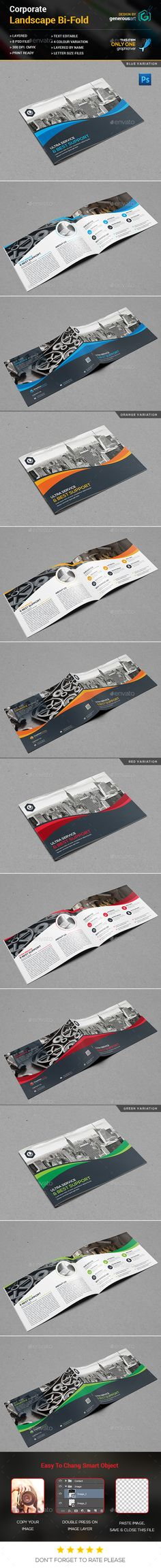 Landscape Bi-Fold Brochure Template PSD. Download here: https://graphicriver.net/item/landscape-bifold-brochure/17026534?ref=ksioks