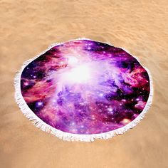 "Pink Nebula Round Beach Towel by Johari Smith.  The beach towel is 60"" in diameter and made from 100% polyester fabric."