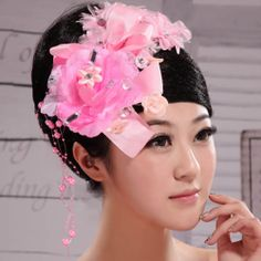 Pink Beaded Rosette Masquerade Ball Prom Party Headpieces Accessories SKU-10806385