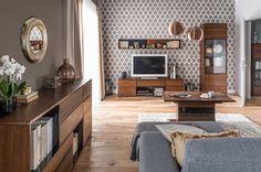 "Set de mobila living din lemn si furnir, 5 piese ""Bellis"" Oak | Somproduct Entryway Tables, Luxury, Modern, Furniture, Home Decor, Decoration, Interiors, Living Room, Decor"