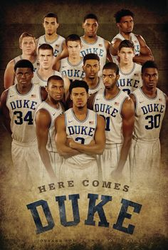 "GO DUKE!! THIS IS A PHOTO OF THIS YEAR'S 2014-2015 BASKETBALL TEAM AND I BELIEVE WE SHOULD CONTEND FOR THE ACC CHAMPIONSHIP AND I HEARD THAT DUKE HAD THE BEST RECRUITING CLASS IN THE NATION SO WE SHOULD HAVE SOME GREAT PLAYERS AND I'M READY TO SEE MY BLUE DEVILS ON THE COURT LED BY MY FAVORITE COACH ""THE BEST"" COACH K!!"