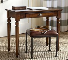 "Printer's Writing Desk - Small #potterybarn 36"" wide x 18"" deep x 30"" high The writing desk has a single pull-out supply drawer. The finish is hand applied in layers, with distressing and burnished edges that give the desk the look of a well-loved antique."