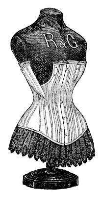 Victorian Graphic - Dress Form with Corset