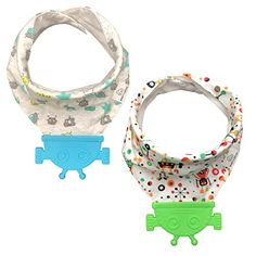 #Baby #Teething #Bibs - #Bandana #Drool #Bibs With #Teether #Toy, 100% #Organic #Cotton, [2-Pack] by #Wyatt #Carter #Baby SUPER ABSORBENT 3-LAYER DESIGN WITH WATERPROOF MIDDLE LAYER. Keep your baby's clothes dry! There is nothing worse than a bib that gets soaked quickly that leads to wet clothes. Keep your little one dry and happy. Suitable for your washing machine. Air dry for longer use. ATTACHED SOOTHING SILICONE #TEETHER #TOY IS BPA FREE AND 100% FOOD GRADE SILICONE. Wit
