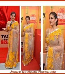 Buy Beige and yellow thread work designer saree bollywood-saree online