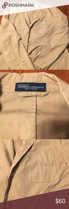 Polo Ralph Lauren cotton chino sport coat Excellent used condition. Three button front, Single vent in back.No rips, tears or stains. Suits & Blazers Sport Coats & Blazers