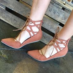 Pointed toe, lace up flat Super cute!! We're a size too small for me :/ beautiful brown, never worn Shopthreelittlebirds Shoes Flats & Loafers