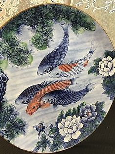 Large-KOI-Decorative-Blue-Orange-Porcelain-Platter-Plate-Japan-16-034  $65.00