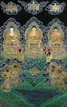 The Buddhas of the three times (past, present and future): Dipamkara Buddha, Sakyamuni Buddha, and Maitreya Buddha
