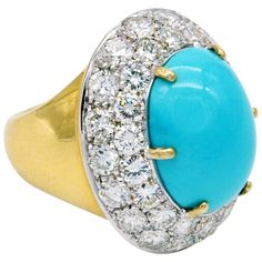 """claris.a"" large turquoise diamond gold ring"