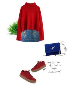 """What feels like the end is often the beginning"" by mycherryblossom ❤ liked on Polyvore featuring Alice + Olivia, Giuseppe Zanotti, Sweater, denimskirt, polyvoreeditorial and polyvorestyle"