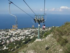 Capri, Italy....one of the funnest things ever was this chair lift looking over the island!