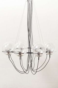 Anonymous; Hand-Blown Glass, Chromed and Enameled Steel 'Saturnus' Ceiling Light by RAAK, 1960s.