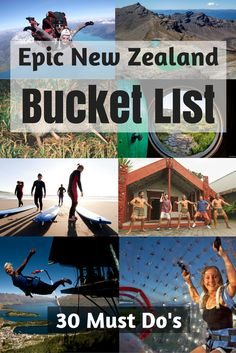 Must Do New Zealand Bucket List Items 30 of New Zealand's many bucket list activities broken down into four categories. How many will you of New Zealand's many bucket list activities broken down into four categories. How many will you do? Brisbane, Sydney, Visit New Zealand, New Zealand Travel, Places To Travel, Travel Destinations, Places To Go, New Zealand Adventure, Destination Voyage