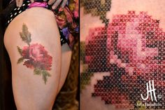Embroidery rose tattoo by Julie Hamilton - tattoos your granny will love Aster Tattoo, Rose Tattoos, Flower Tattoos, Body Art Tattoos, Tattoo Art, Tatoos, Cross Stitch Tattoo, Cross Stitch Rose, Great Tattoos