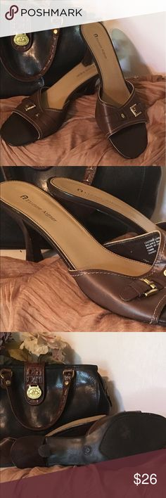 Etienne Aigner Brown Leather Sandals Slide in sandals with decorative buckle have very little wear. Etienne Aigner Shoes Sandals