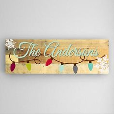 Personalized Snowflakes and Holiday Lights Motif Canvas Sign