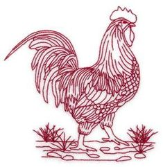 Machine Embroidery Redwork Rooster In Stones Embroidery Design by Starbird Inc. Chicken Crafts, Chicken Art, Cross Stitch Embroidery, Hand Embroidery, Rooster Art, Chickens And Roosters, Machine Embroidery Patterns, Embroidery Techniques, Pet Birds