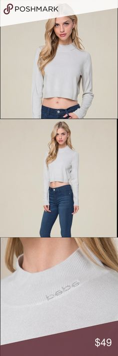 855ceb5451b01 BEBE NWT CREWNECK GREY CROP SWEATER Goes-with-everything cropped sweater in  a clean
