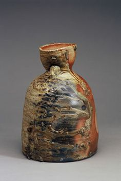 Hand built wood fired ceramic bell shaped pot salt glazed by Janet Mansfield Australia