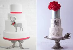 Winter red, white and silver wedding cakes by Erica O Brien left, Enchanting Merchant Co right Christmas Cake Decorations, Christmas Cakes, Silver Winter Wedding, Reindeer Cakes, Geek Magazine, Cake Trends, Dream Cake, Wedding Cake Inspiration, Cupcake Ideas