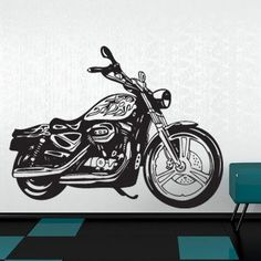 "Style and Apply Motorcycle II Wall Decal Size: 24"" H x 31"" W, Color: White"