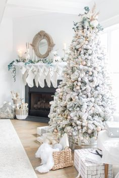 I'm Dreaming of a White Christmas Home Tour 2017 Part IV Family Room Decor Light and Bright Modern Farmhouse Style Christmas Home Decor AE Home & Style