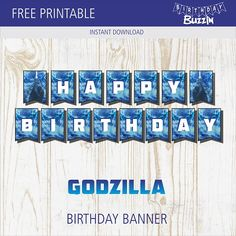 If you're looking for Godzilla party decorations for a monstrous birthday party, use this free printable Godzilla birthday banner template to make a banner that will add to the epic-ness of the party. Printable Birthday Banner, Happy Birthday Banners, Boy Birthday, Birthday Ideas, Garden Birthday, Godzilla Party, Godzilla Birthday Party, Godzilla Godzilla, Happy Birthday Wallpaper
