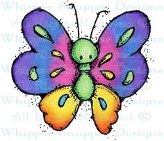 Whipper Snapper Designs is an expansive online store selling a large variety of unique rubber stamp designs. Painted Rock Animals, Painted Rocks, Hand Painted, Butterfly Drawing, Butterfly Painting, Kids Watercolor, Watercolor Cards, Cartoon Drawings, Easy Drawings