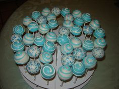 blue and white christening Cake Pops - Tiago's Christening