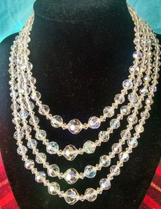 Vintage Crystal Arora Borealis Necklace 4 Strand Faceted Glass Iridescent Crystals Bridal Bride Ball Prom Costume Jewelry