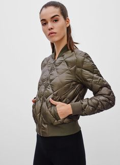 <p>A down-filled bomber that's water-repellent and fully packable</p>