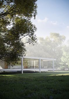 Ludwig Mies van der Rohe (1886-1969) | Edith Farnsworth Residence | Plano, Illinois | 1946-1951 | CGI Architectural Visualization by Peter Guthrie – 2006