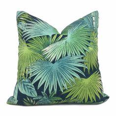 Bahama Breeze Blue Green Palm Fronds Botanical Cotton Print Pillow Cover