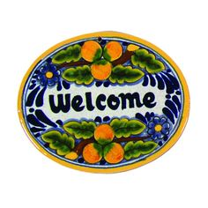 Native Trails TVR7120 Small 'Welcome' Hand Painted Plaque Peaches Home Decor Wall Decor Wall Decor