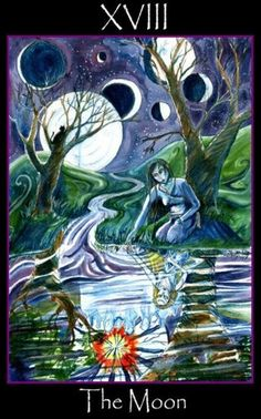 Tarot of the Sidhe ► The Moon Tarot Celta, Tarot Cards Major Arcana, The Moon Tarot Card, Tarot Significado, Fortune Telling Cards, Divination Cards, Online Tarot, Tarot Card Meanings, Oracle Cards