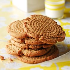 """Old-Fashioned Peanut Butter Cookies Recipe -My mother insisted that my grandmother write down one recipe for her when she got married in 1942. That was a real effort because Grandma was a traditional pioneer-type cook who used """"a little of this or that 'til it feels right."""" This treasured recipe is the only one she ever wrote down! —Janet Hall, Clinton, Wisconsin"""