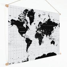 Wereldkaart Zwart Wit Schoolplaat - modern - groot 150x90 cm platte latten - Textielposter