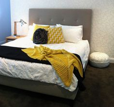 Fabric Headboard Idea - this site has great designs for the I can do this cheaper at home people like me!