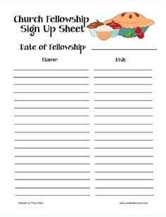 A printable sheet for signing up to bring food and other items for ...