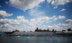 A beautiful scene at Eton Dorney as the lightweight men's rowing fours pass the grandstand