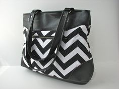SALE Shoulder Bag Tote Bag in Black and White Chevron by bluecalla, $60.00