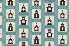 for the bench in my entry   Folly Fabric, Aqua - asian - upholstery fabric - CurtainsMade4U
