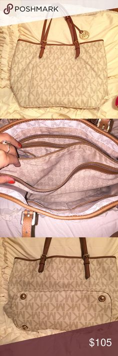 Michael kors purse Gently used but you cannot tell unless you really look for them! Lol  inside is perfect no pen marks no stains ! Also the straps are perfect as well, the leather is still intact and has no visible signs of wear ! Michael Kors Bags Totes