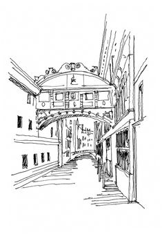 Travel sketches in ink by Ricardo Agraz.