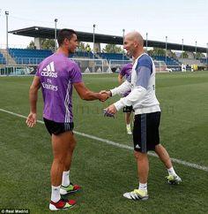 Cristiano Ronaldo was welcomed back to Real Madrid training by Zinedine Zidane