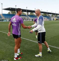 Cristiano Ronaldo was welcomed back to Real Madrid training by Zinedine Zidane
